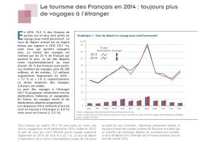 DGE : 4 pages sur le tourisme des Français en 2014