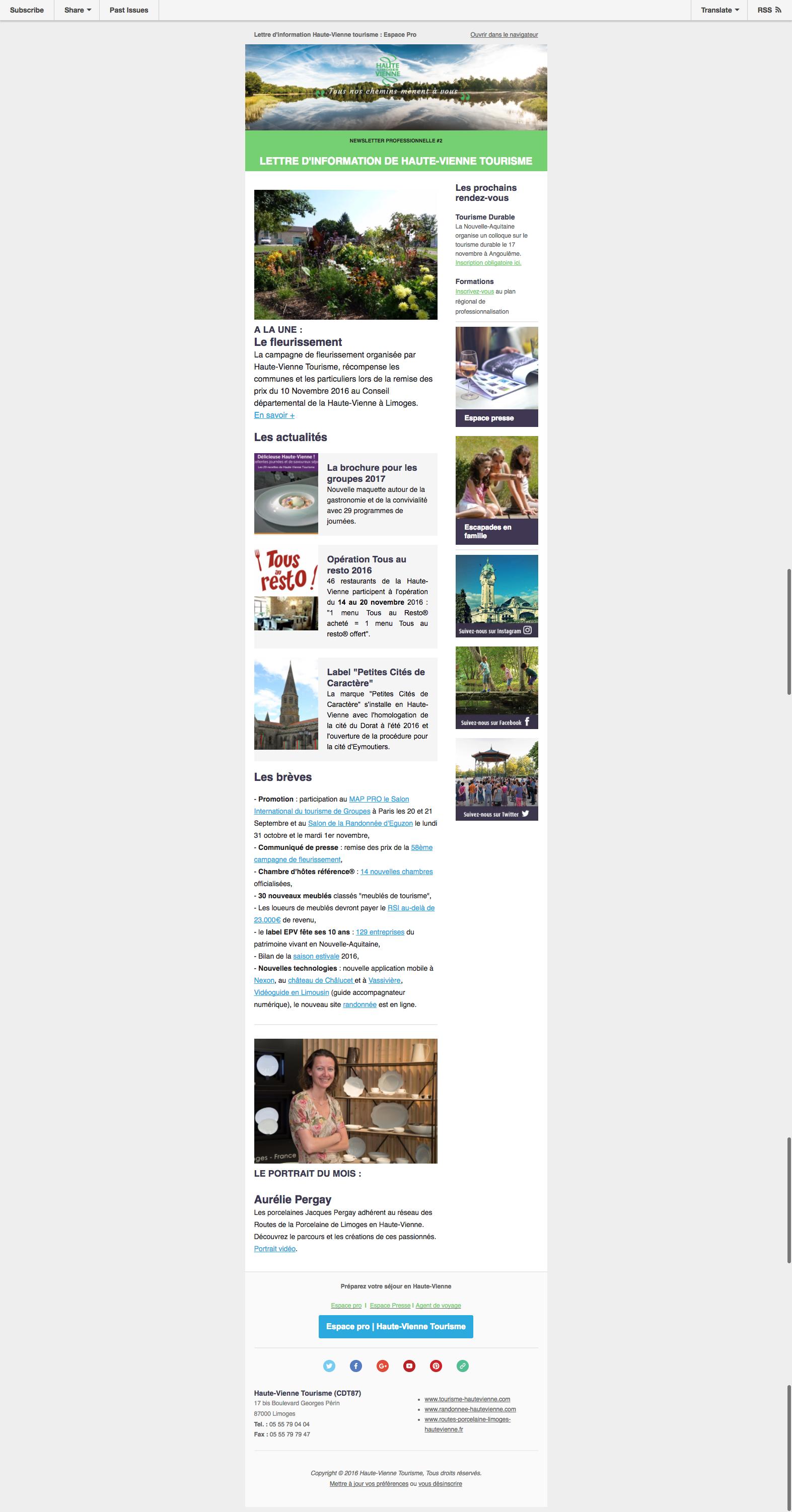 La lettre d information de Haute Vienne Tourisme 2 Espace Pro