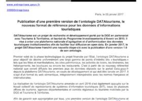 Publication d'une première version de l'ontologie DATAtourisme