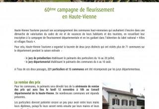 60ème campagne de fleurissement en Haute-Vienne
