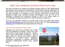 Communiqué de presse : randonnez en Haute-Vienne avec Loopi