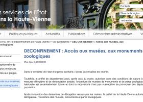 DECONFINEMENT : Accès aux musées, aux monuments et parcs zoologiques